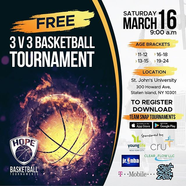 We are less than two weeks away from hosting one of the best basketball tournaments in NYC.  Pre-registration begins this Friday. Spread the word!  #hopebasketball #ballislife #nyc