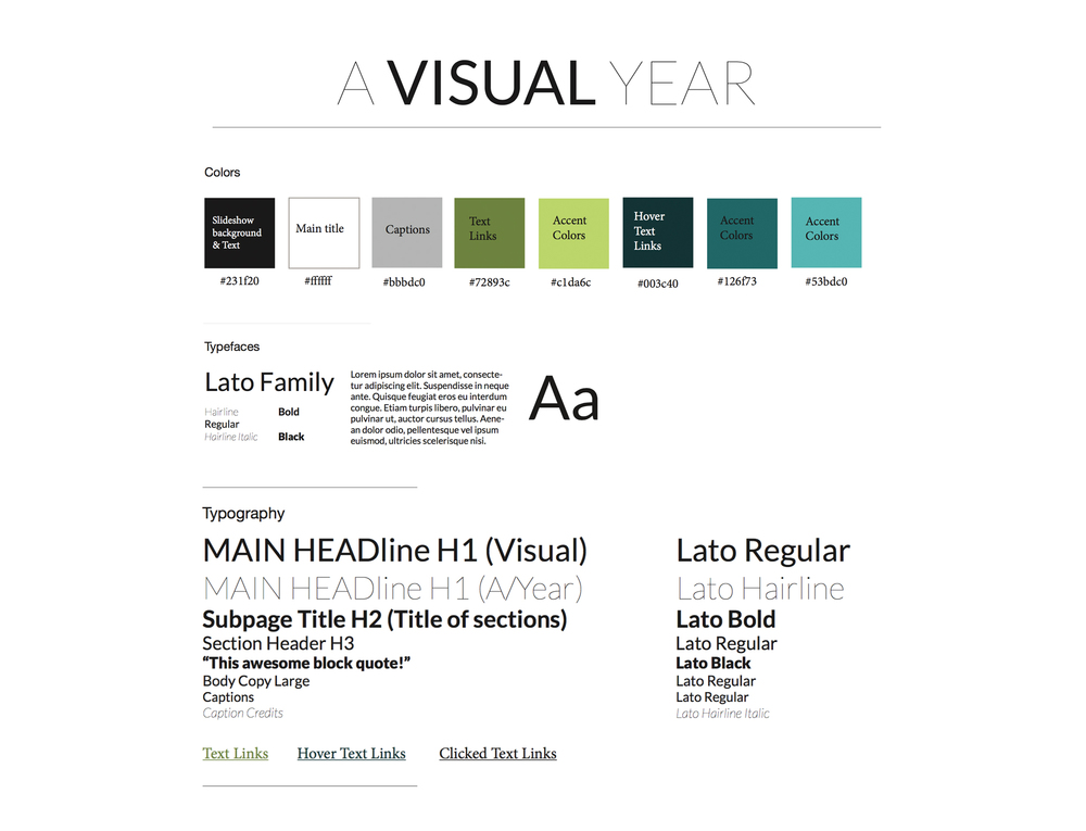 An example of a style guide I created for A Visual Year