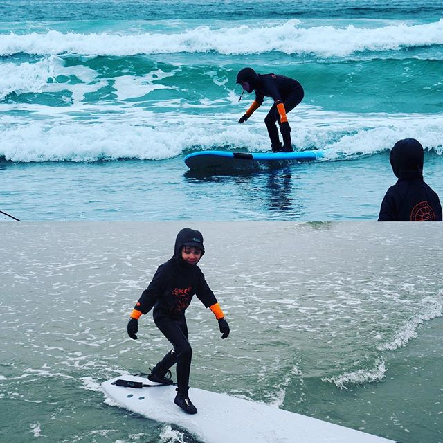 When you live on the West coast it's important to get in the water - no matter the month. W & S took to March surf like a couple of otters thanks to some great instruction from @pacificsurfco and @inigoaldecoa #saltfreshfield #tofino @gilliansimonett #springbreak2018 #coxbaybeach