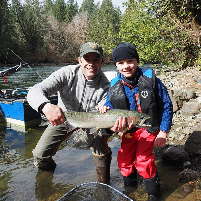 W turned 8 & released his first steelhead. There will likely be more in his future but they will all be compared to this one. #saltfreshfield #stampriver @murphysportfishing