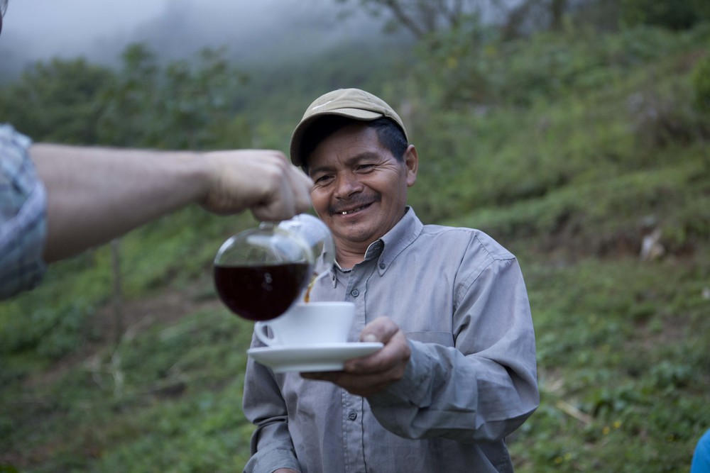 Sebastian Benitez, a Honduran producer, is served his coffee roasted and prepared in San Francisco