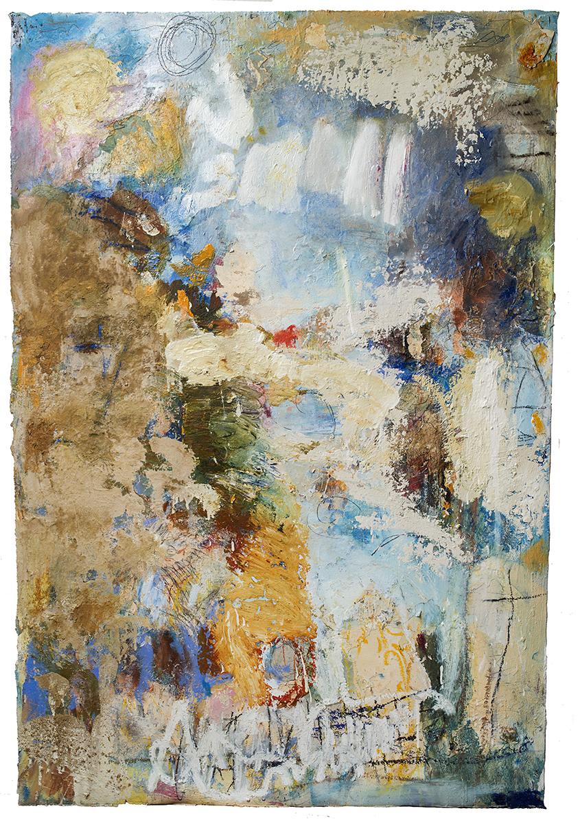Cianne Fragione Stilo and Byzantino (Immacolata series), Oil, raw pigment, graphite on paper 52 x 36.5 inches.