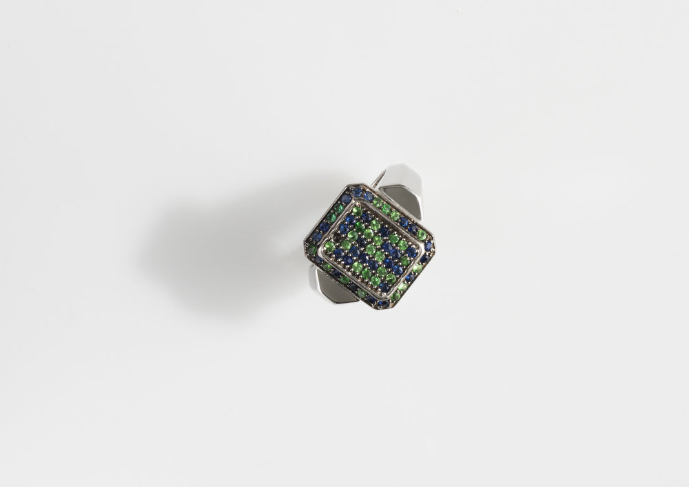 sapphire and green garnet octagon ring in white gold.jpg