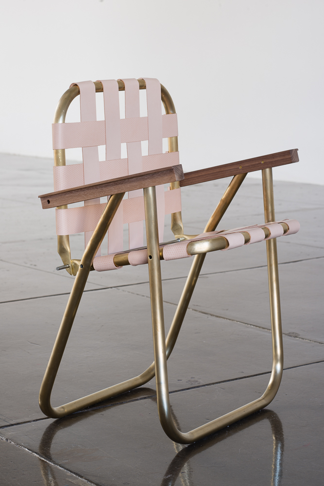 Lawnchair, 2014. Brass, Walnut, Leather. Blue/Black at Artpace, San Antonio. 2014
