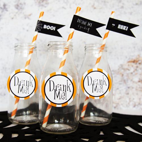 Milk bottles & straws