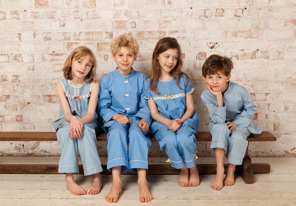 Atticus and Gilda blue pyjamas for kids group shot