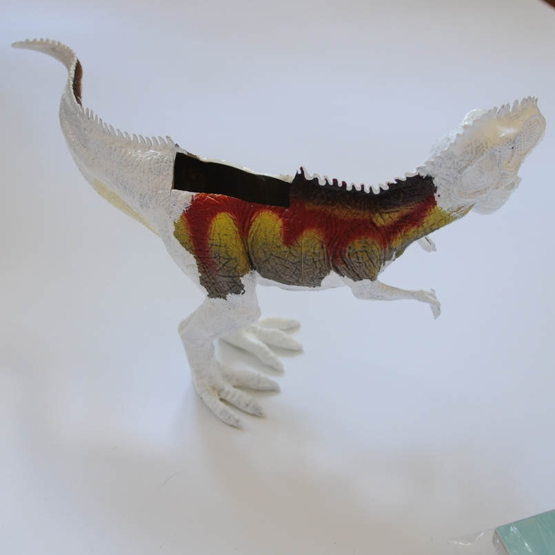 Painting a dinosaur white