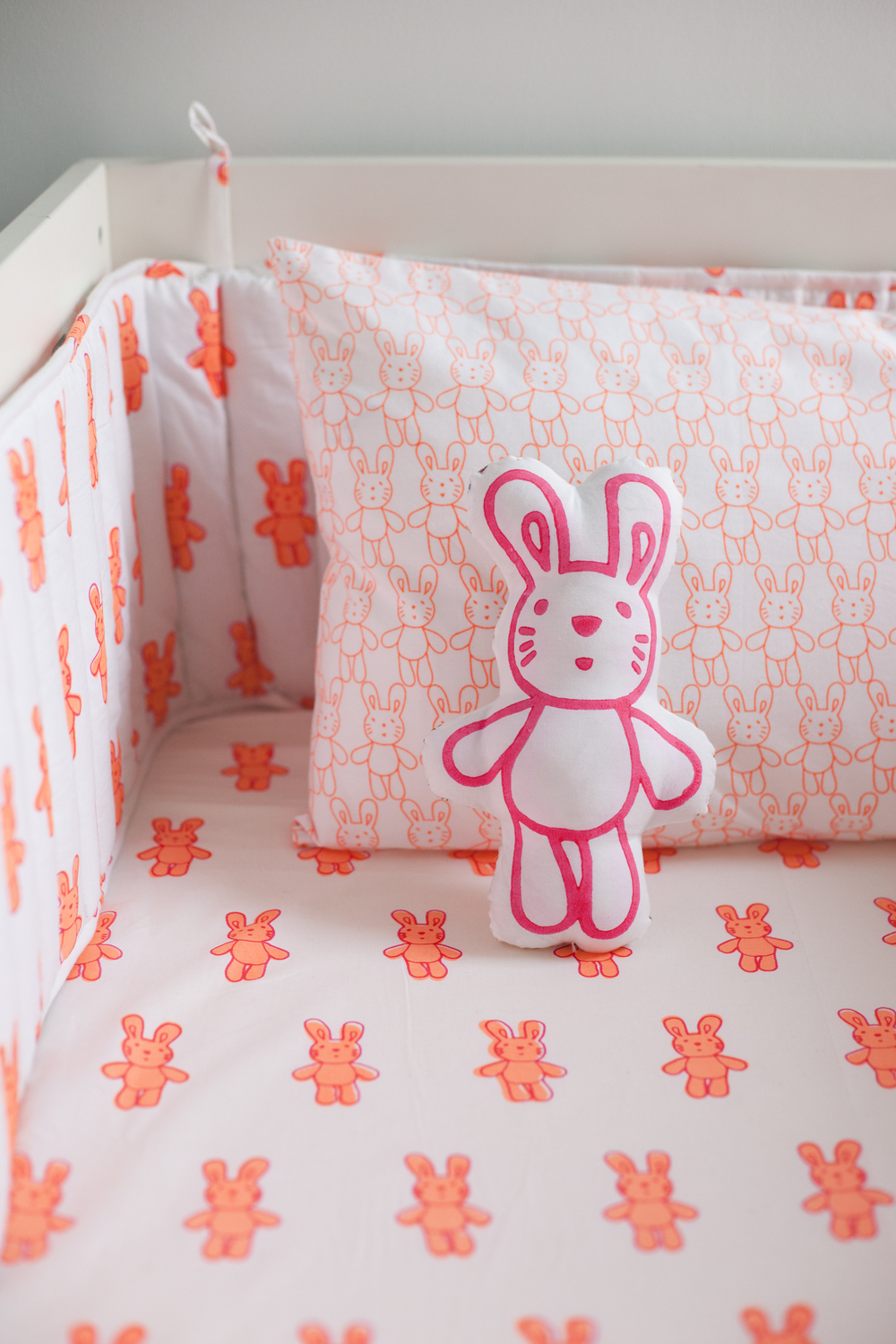 Bunny  sheet £28, bumper £69, pillowcase £15 and bunny cushion £17