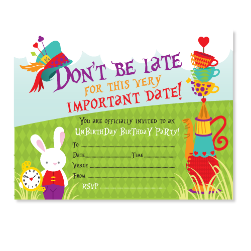 feather grey mad hatter party invitations
