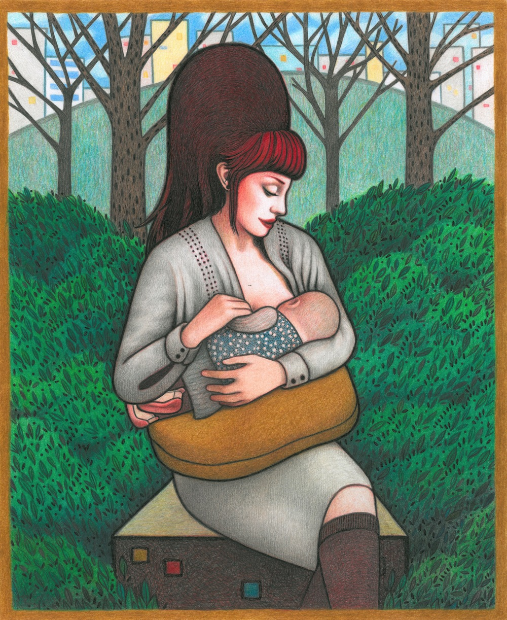 Cub bag nursing illustration