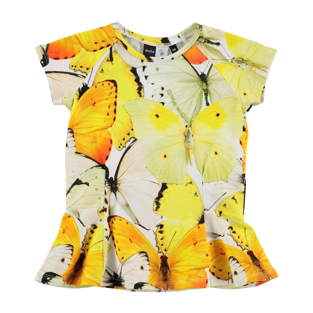 Molo butterfly print girls peplum top
