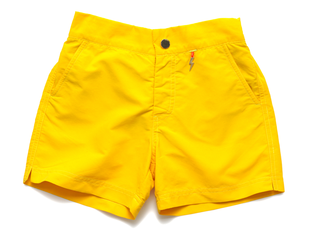 Beanie and Bear yellow kids swim shorts trunks
