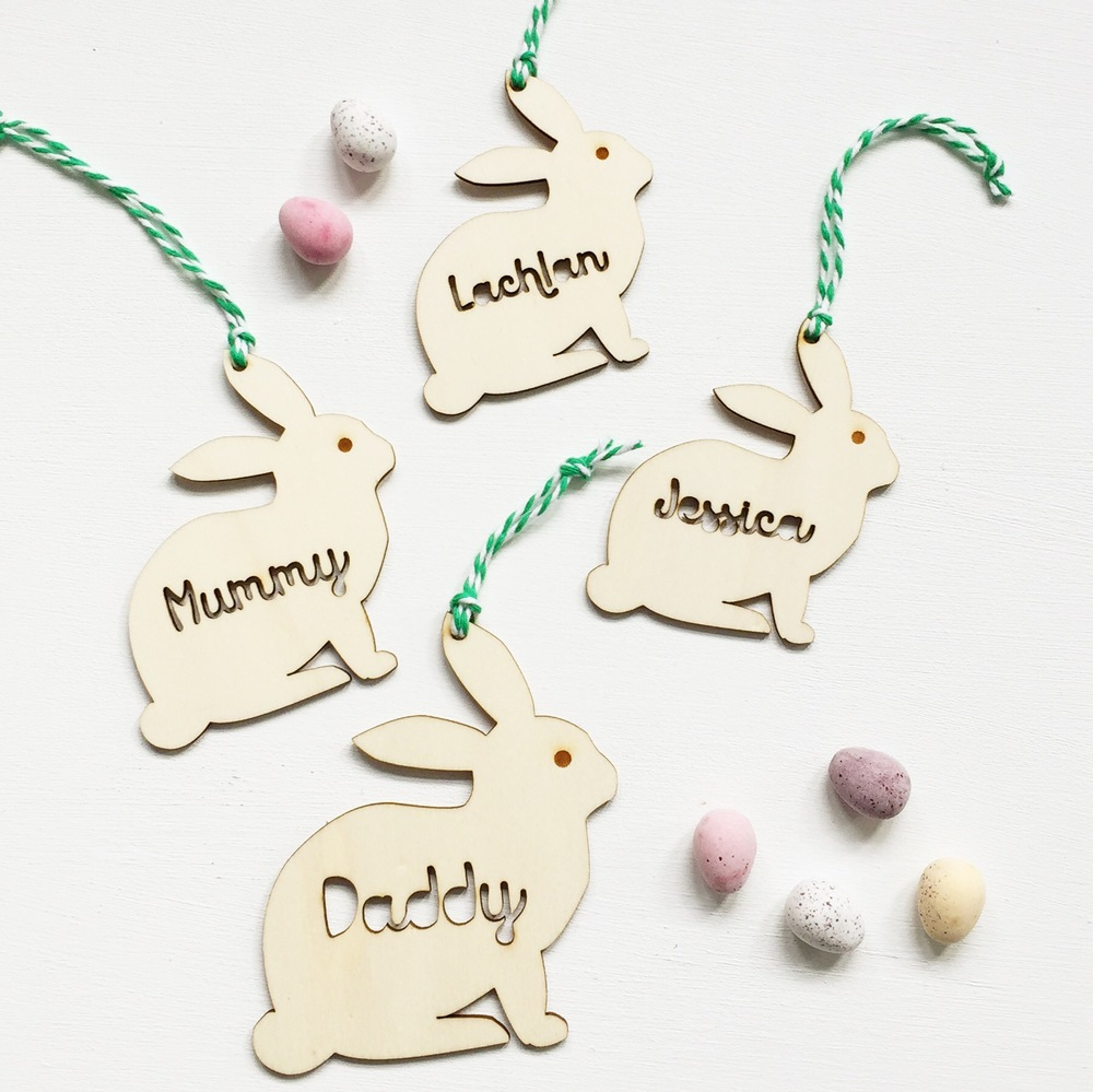 Scamp personalised wooden Easter bunny decorations
