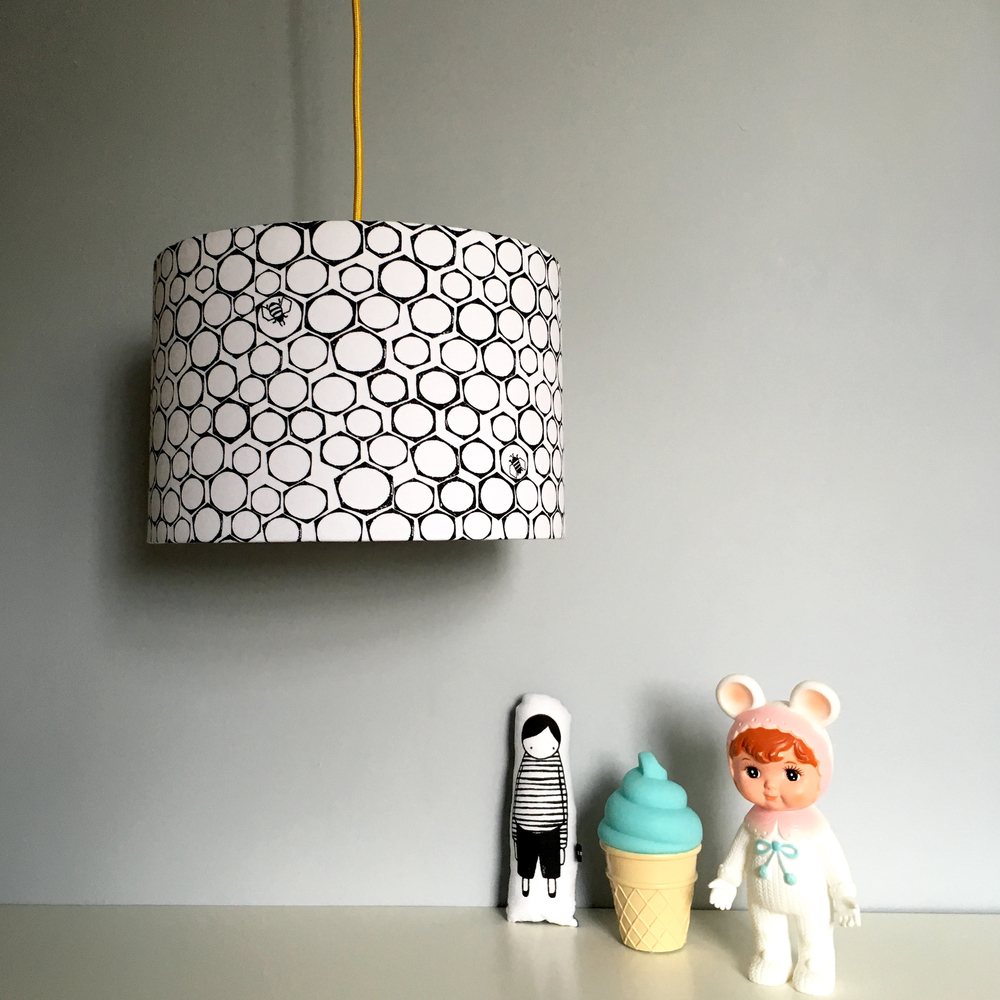 Love Frankie /TBC Nutty Bees lampshade in monochrome £35