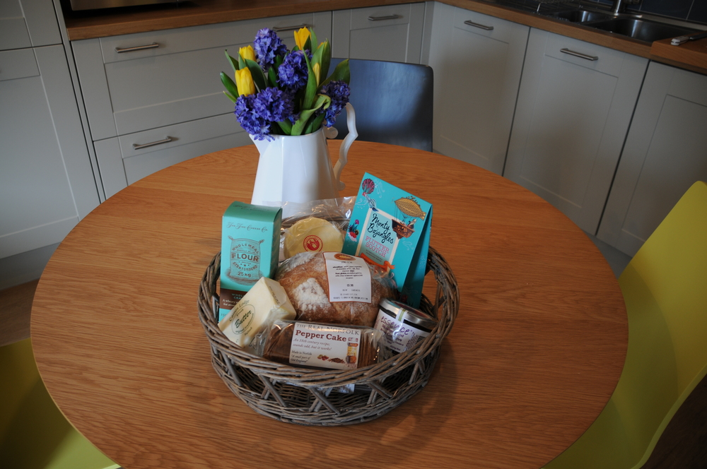 Delicious hamper full of goodies to welcome us at Barsham Barns. Including bread, cheese, crackers, butter, jam, cake and sweets
