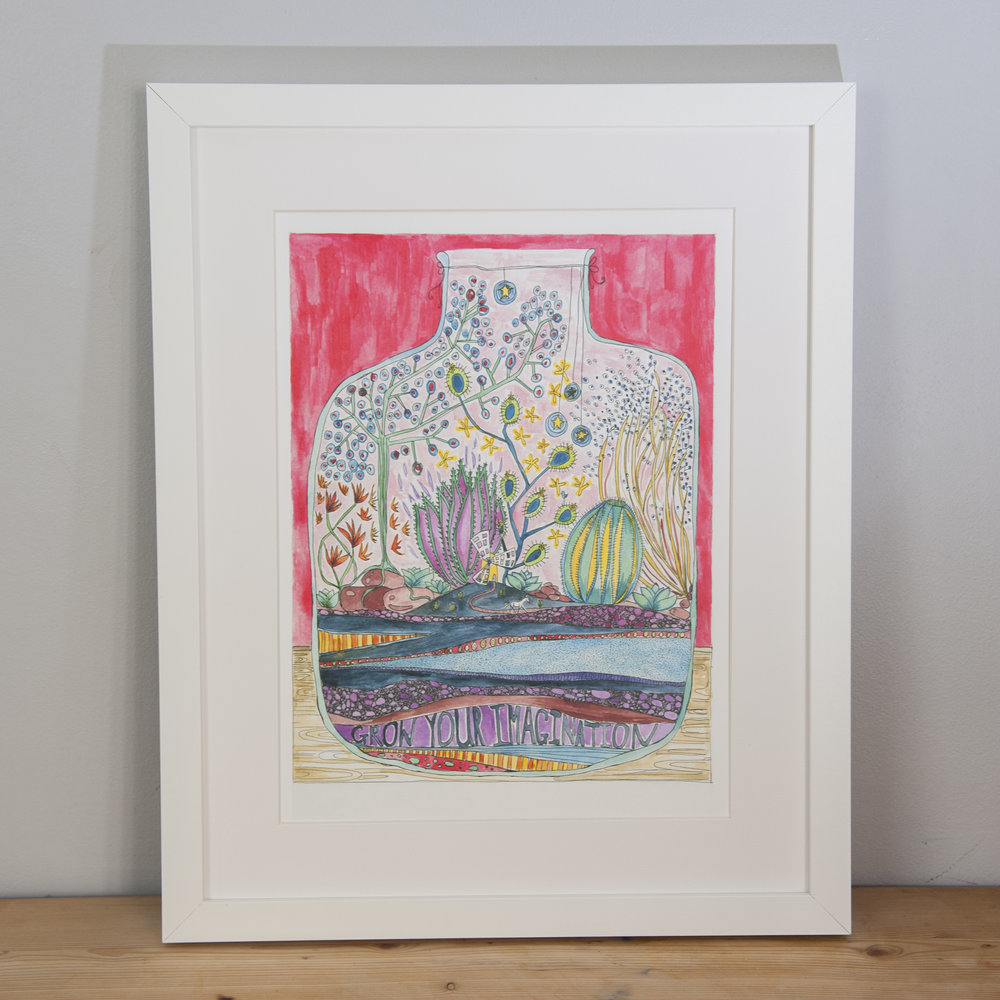 Copy of Grow Your Imagination a3 print , Framed, Sarah Lovell Art.jpg