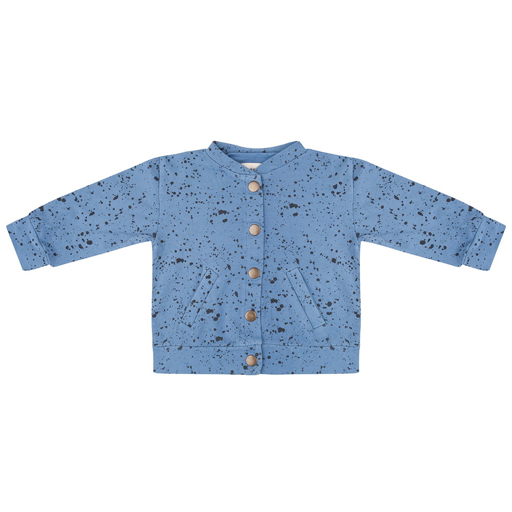 Little Indians blue splash 2 pocket kids bomber jacket