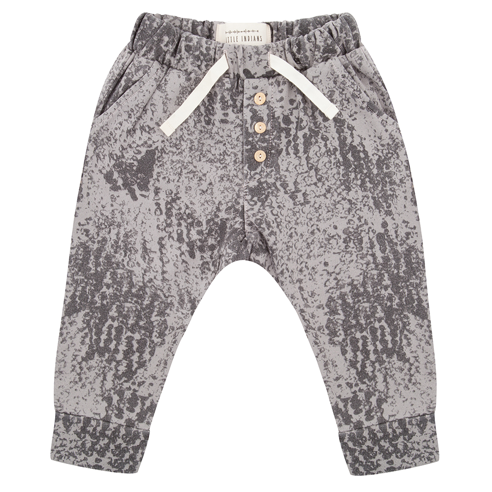 Little Indians grey print three button drawstring comfy baby trousers
