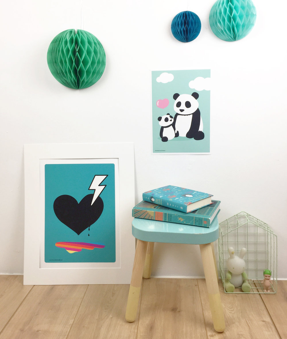 Love struck blue and panda prints by Dodlemoo
