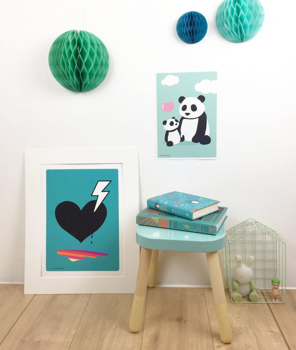 Love struck blue and panda prints by Dodlemoo