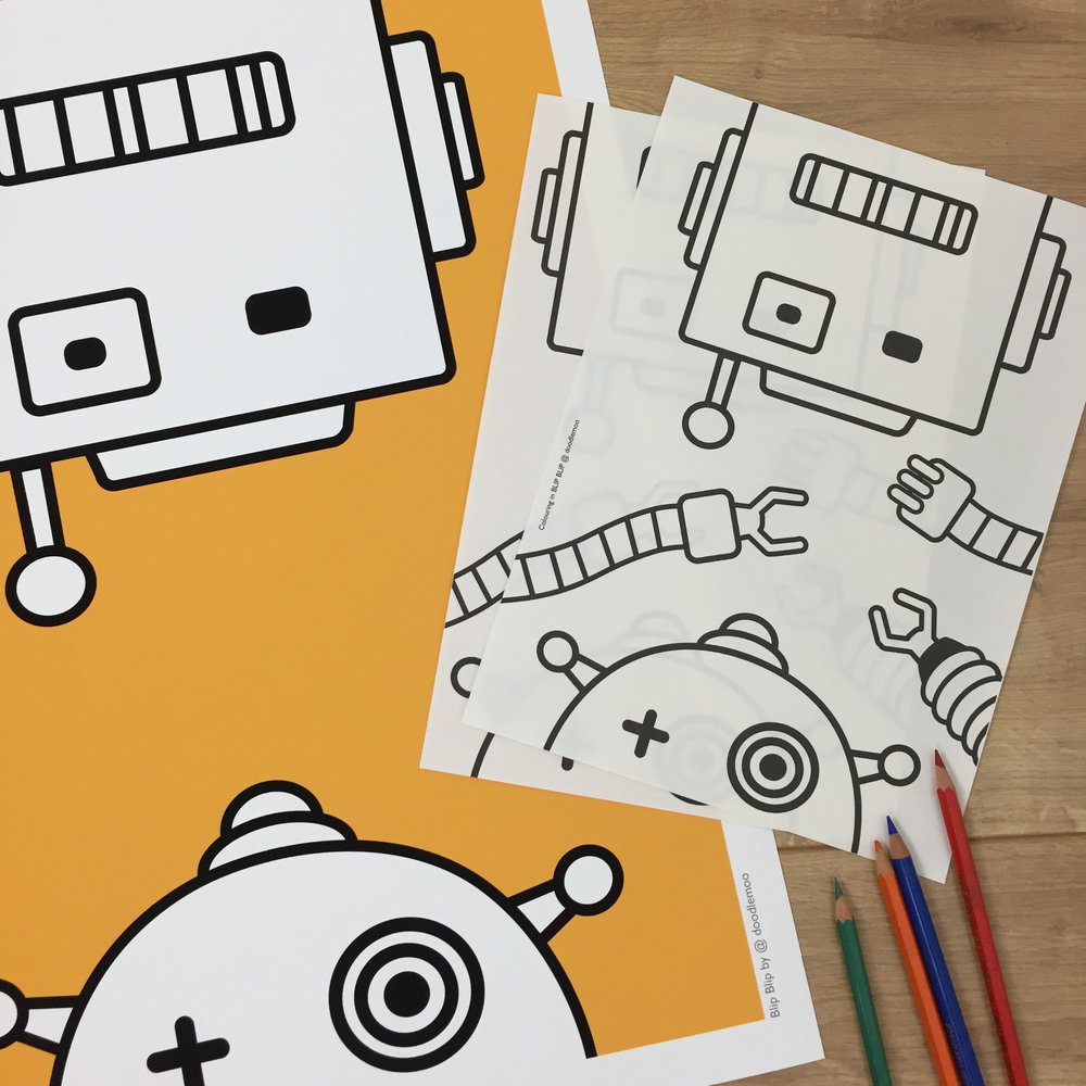 Robots mustard colouring in by Doodlemoo