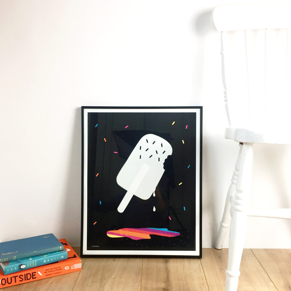 Drip drop ice lolly rainbow print by Doodlemoo