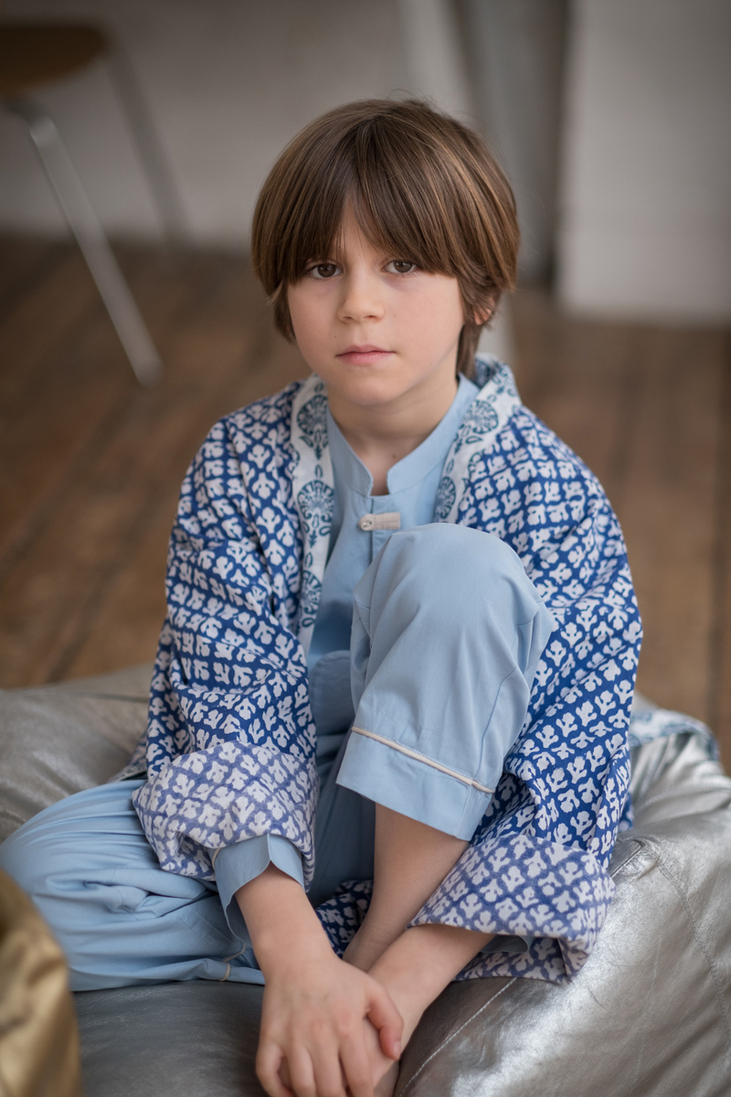 Atticus and Gilda boys blue dressing gown and pyjamas