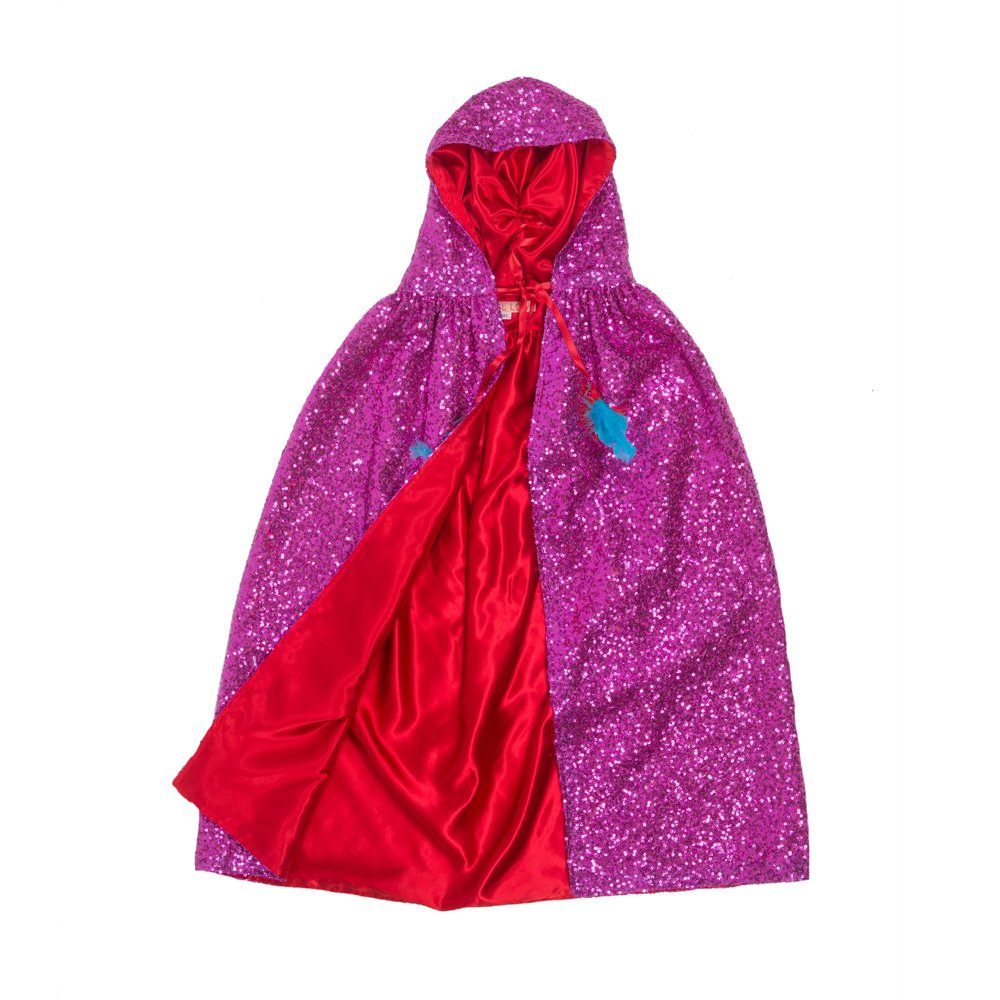 Pearl Lowe and Selfish Mother sequin pink cape with red lining