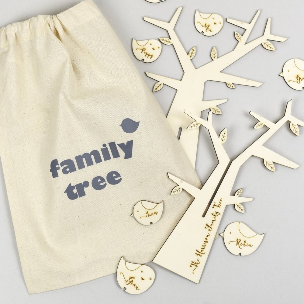 Scamp wooden personalised family tree