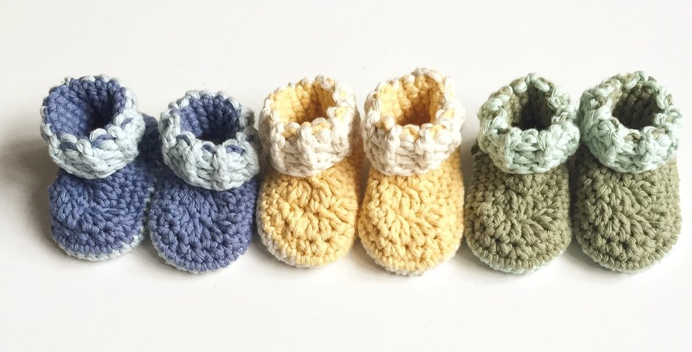 Gooseberry Fool handmade knitted baby booties