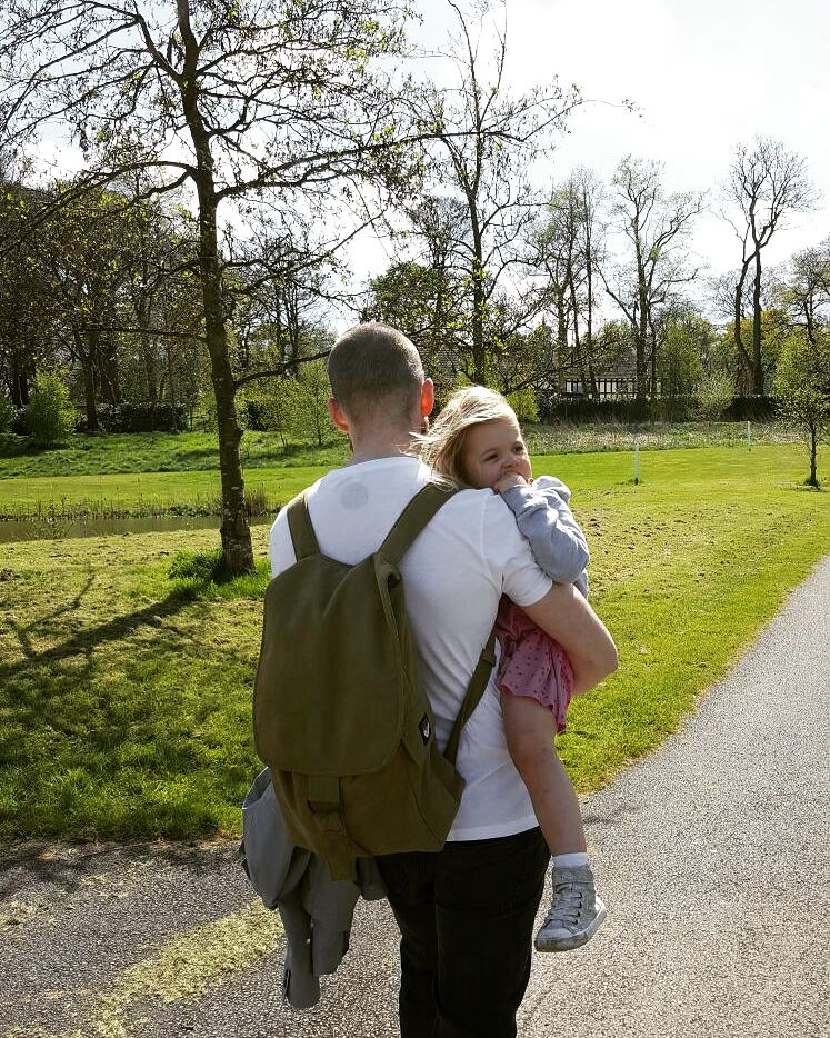Daddy Freckle  sporting the Olive Green Zack rucksack - now in the sale! £98
