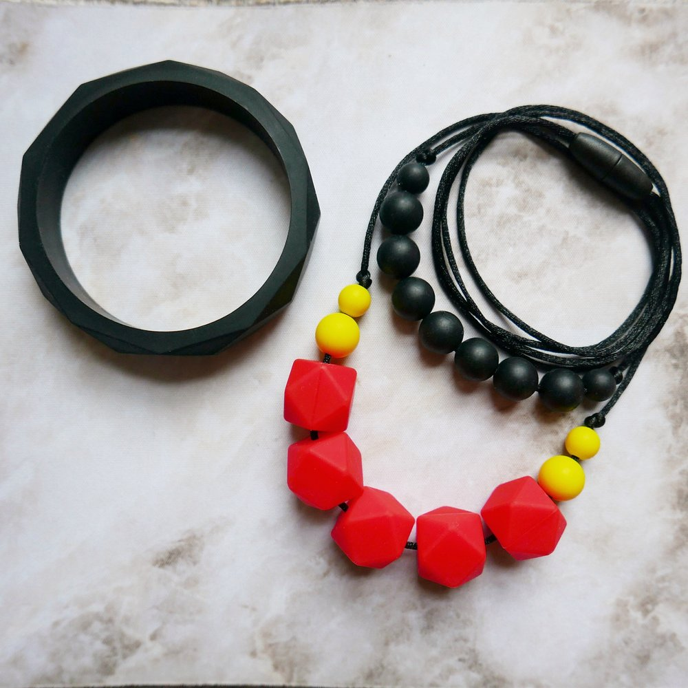East London Baby Company teething jewellery red and black