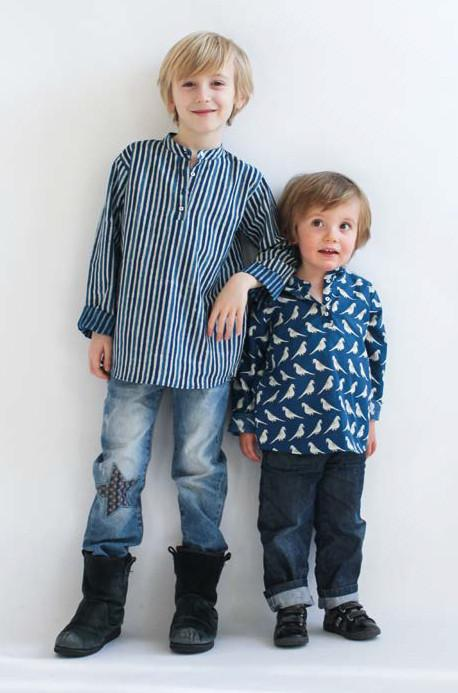 Tendre Deal Striped Kurta Shirt Blue From: Le Petit Lucas du Tertre