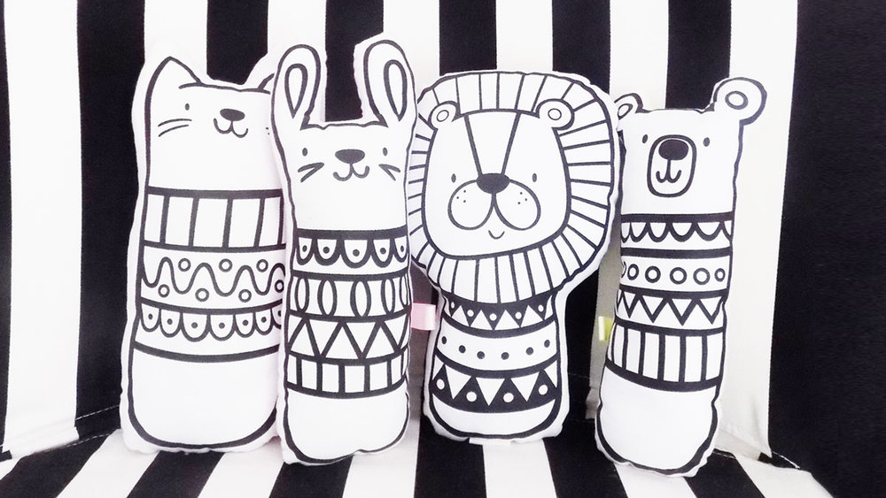 Sosoyoyo soft animal monochrome toys