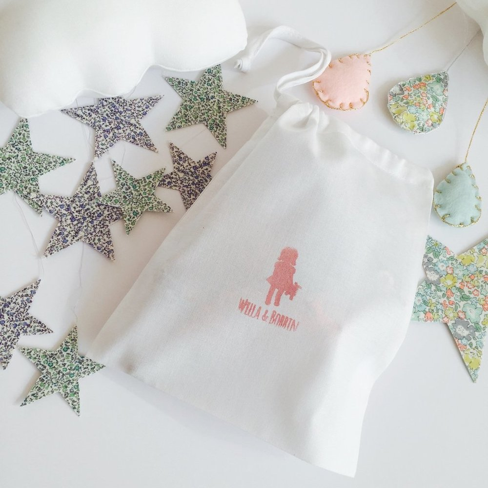 Willa and Bobbin liberty print cloud mobile and packaging
