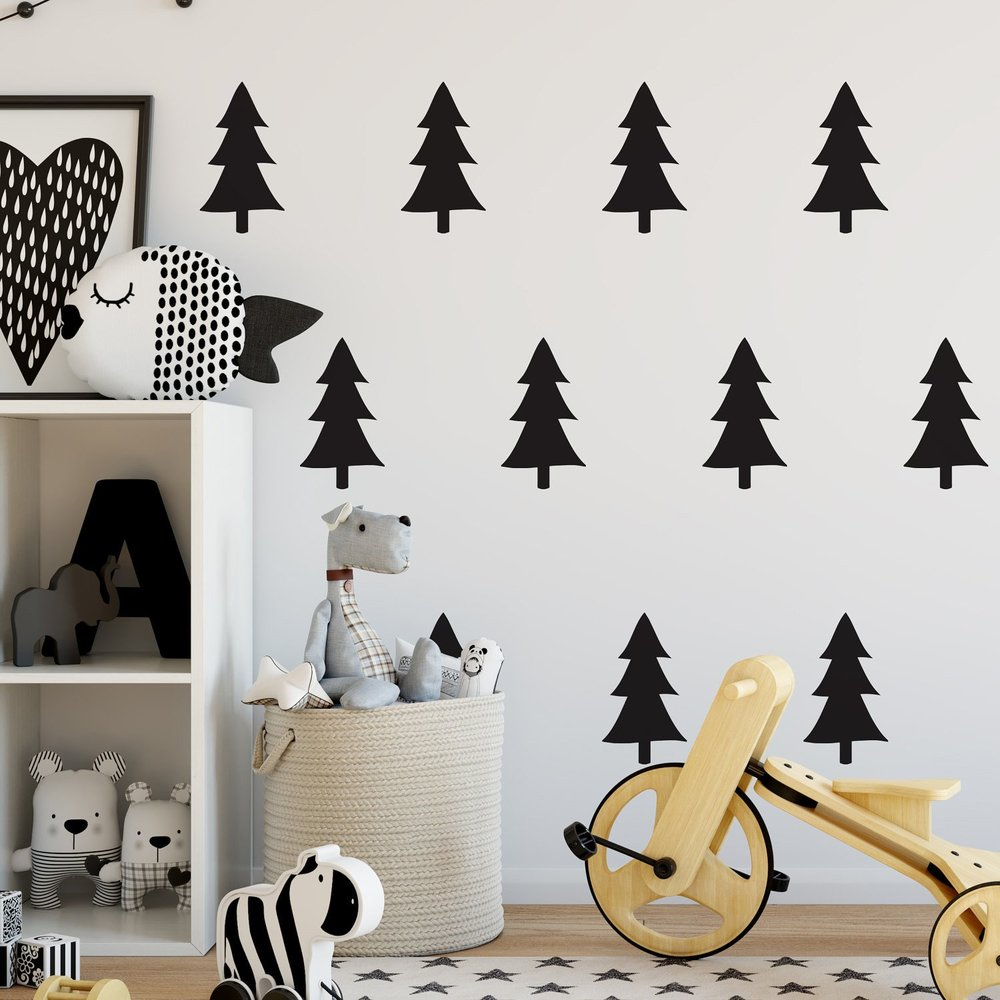 Nutmeg wall art. pine trees black stickers
