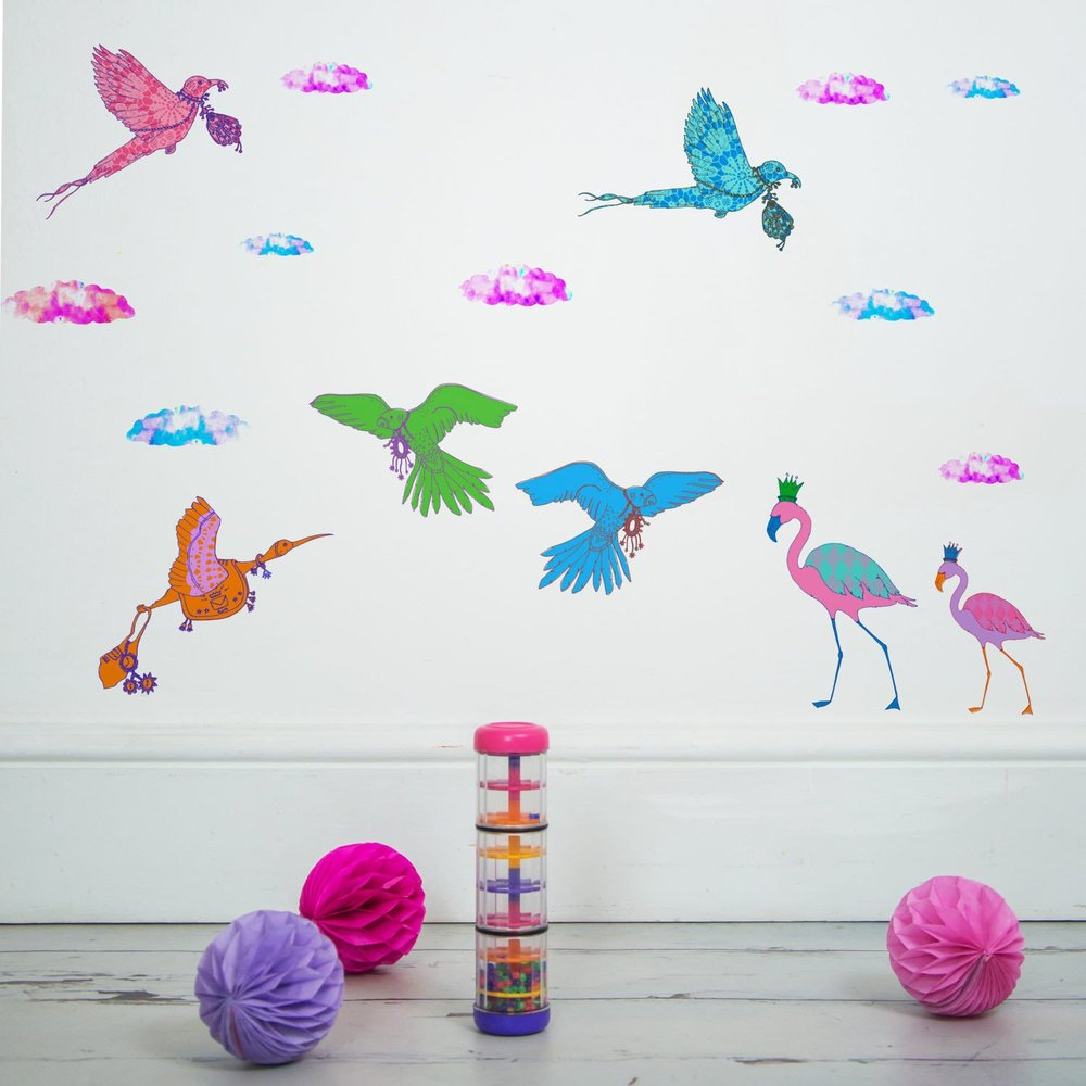 sas and yosh collaboration with nutmeg wall art birds and clouds