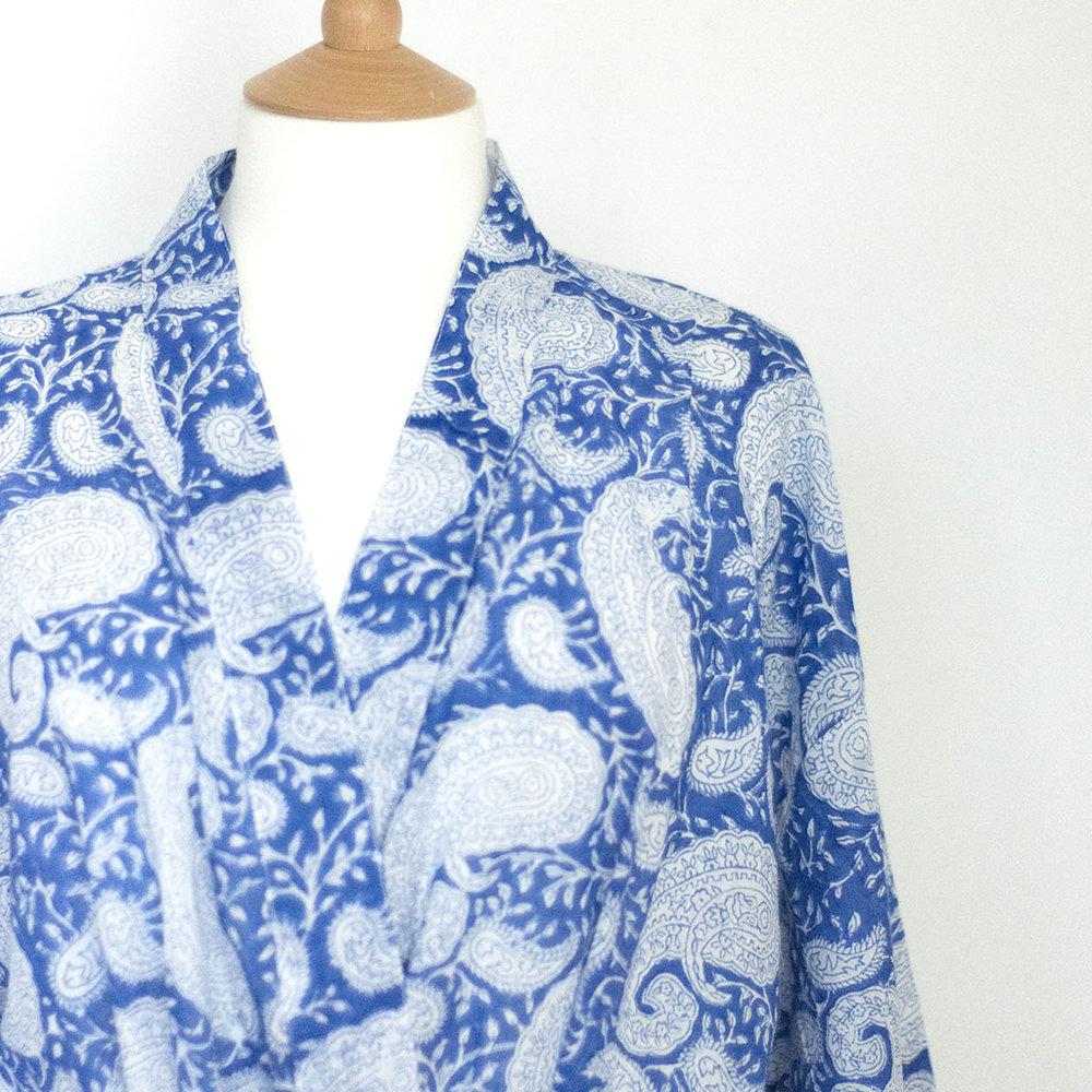 Dilli Grey blue cotton paisley kimono