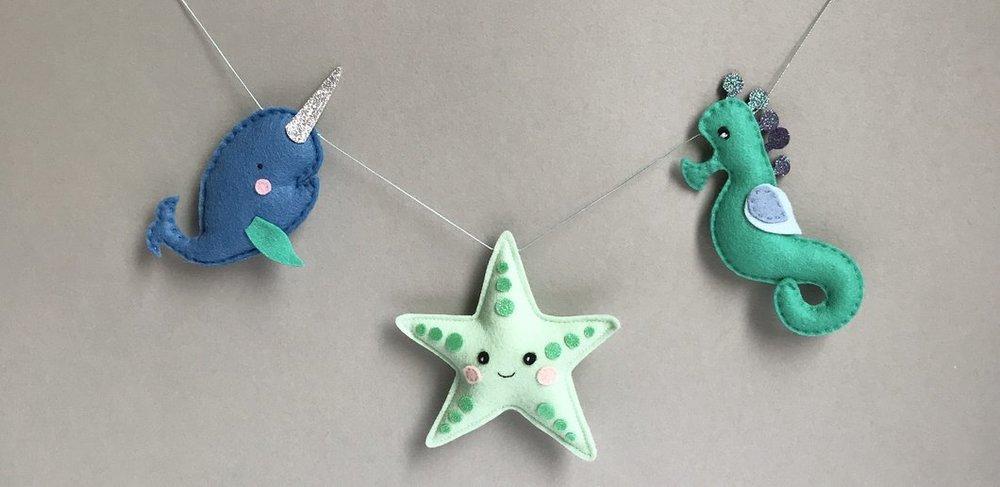 handmade felt sea creatur banner