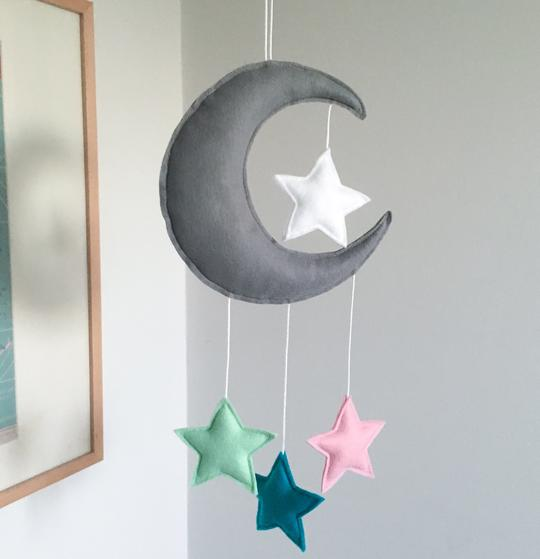 Handmade felt cloud and star mobile