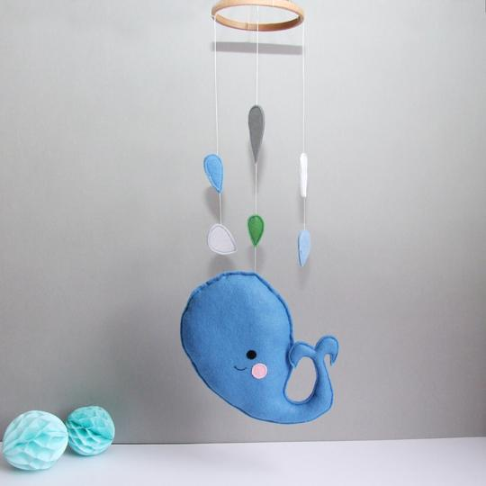 Handmade felt whale mobile