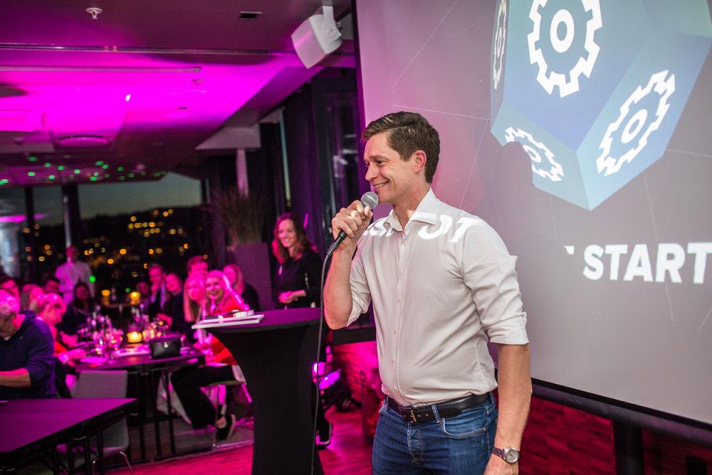 Ole Petter i Disruptive Technologies holder innlegg under Nordic Startup Awards i Tromsø 04.09.2017