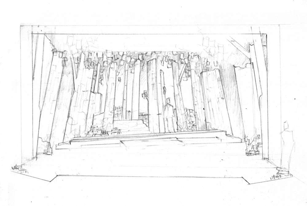 Open stage, multiple scenes