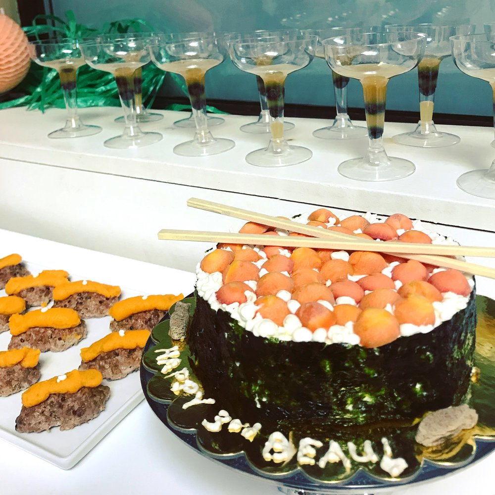 Sushi cake + savory cupcakes