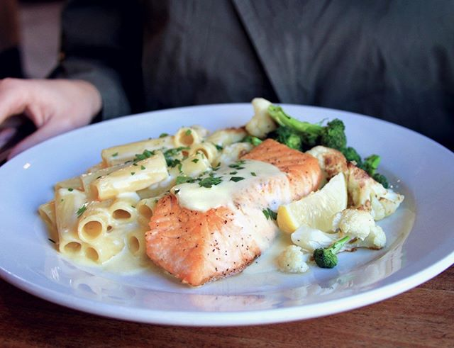 Join us for dinner tonight and try one of our classic Italian dishes. What's on our mind? Roasted salmon with vegetables and rigatoni in Alfredo sauce. Yum! * * * #italianfood #bayareaeats #homemade #forkyeah #eeeeeats #zagat #eater #eatersf #huffposttaste #foodpornshare #topcitybites #eatdrinksf #topfoodnews #officialfoodgroup #foodstagram #dailyfoodfeed #foodbassador #buzzfeedfood #sfeats #huffposttaste #thefoodgasmguide #eatforfeats #madefromscratch #fromscratch #fresh #buonappetito