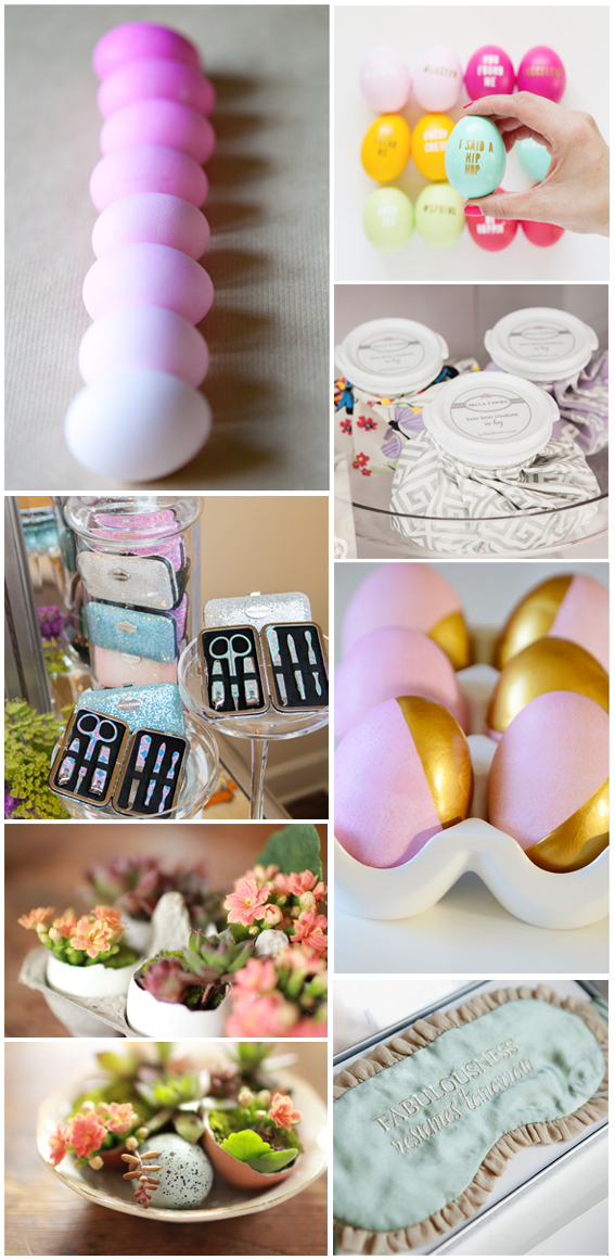 Top to Bottom; Left to Right: DIY Ombre Easter Eggs -  sugarandcharm.com , DIY Typography Easter Eggs -  lovelyindeed.com ,  Boo Boo Couture Ice Bags ,  Mani & More Accessory Kit,  12 Cute DIY Easter Gifts -  trendhunter.com , Easter Is Near -  HELLOkatey ,  Fabulousness Resumes Tomorrow Sleep Mask