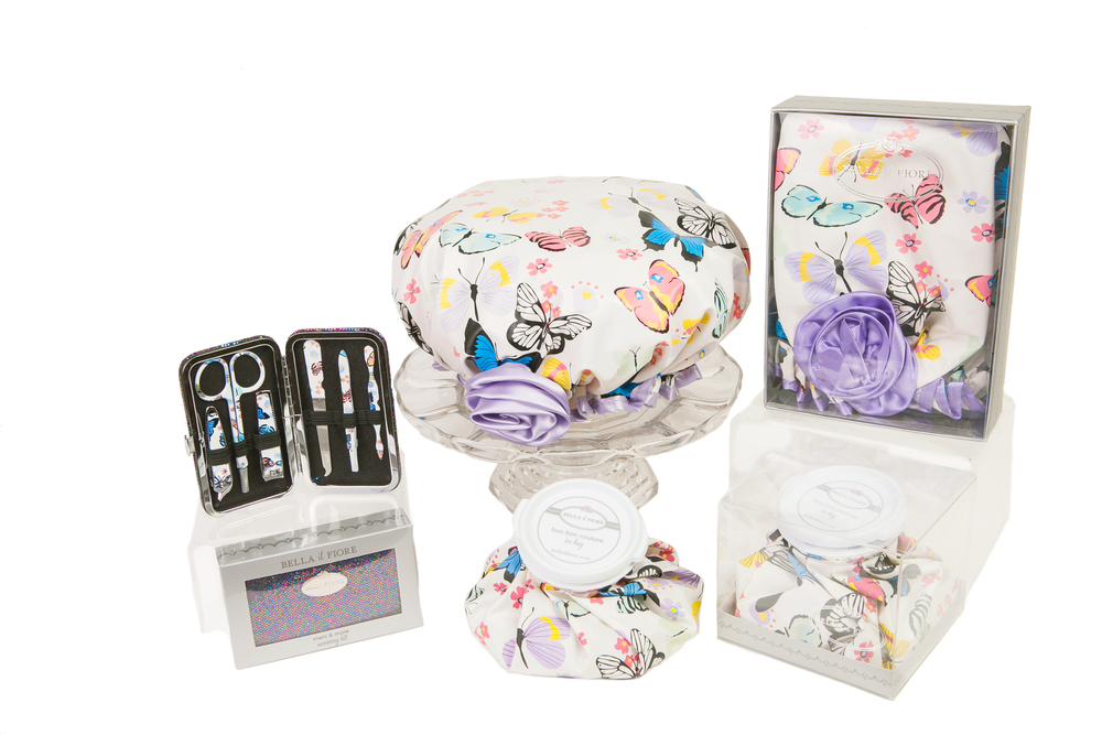 Shown above with matching Boo Boo Couture Ice Bag and Multi Shimmer Manicure Kit with Butterfly pattern printed on nail tools. Also available at bellailfiore.com