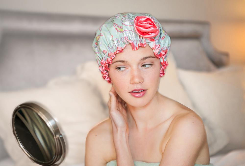 Best Bath Secret — Bella  il  Fiore's  Bath Diva Shower Caps ; Paisley Print Cap Shown Above.