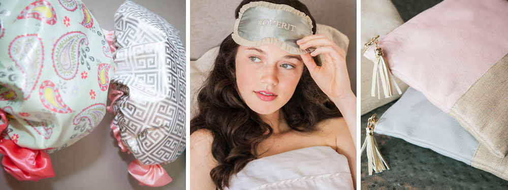 Shower Caps — $21     Sleep Masks — $28     Linen Purse Pouches — From $26