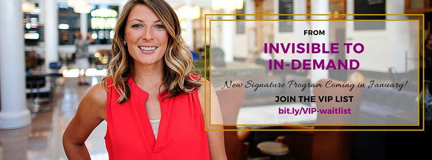 Check out the signature 6-week group program From Invisible to In-Demand! Craft copy, content, confidence and clout with this exclusive course for online entrepreneurial women.